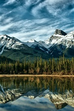 Preview iPhone wallpaper Canada Alberta nature landscape, lake, snow-capped mountains, reflection, sky clouds