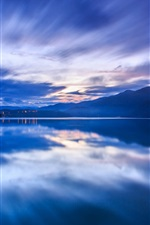 Preview iPhone wallpaper China Taiwan, evening sunset, blue, mountains, fog, lake, water