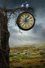 미리보기 iPhone 배경 화면 크리에이티브 디자인, 나무 시계