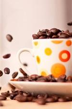 iPhone обои Кубок кофе в зернах съемки крупным планом