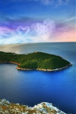 Fantasy landscape, island, sea, heart-shaped clouds, planet