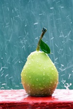 Preview iPhone wallpaper Green pear in the rain