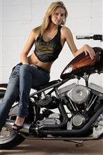 Preview iPhone wallpaper Harley-Davidson motorcycle and beautiful girl