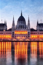 Preview iPhone wallpaper Hungary Budapest, Parliament building at night, Danube river reflection lights