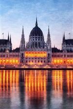 Aperçu iPhone fond d'écranHongrie Budapest, bâtiment du Parlement dans la nuit, les lumières du Danube reflet rivière