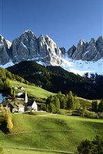 Preview iPhone wallpaper Italian countryside scenery, snow-capped mountains, green trees, houses