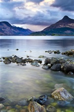 Preview iPhone wallpaper Lake, mountains, stones, dark clouds sky, nature landscape