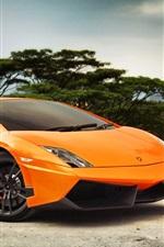 미리보기 iPhone 배경 화면 람보르기니 갈라 LP570-4 오렌지 색상