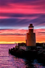 Preview iPhone wallpaper Lighthouse beach pier, sunset evening sea boats