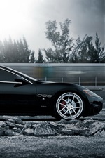 Preview iPhone wallpaper Maserati GranTurismo supercar in high speed running