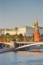Preview iPhone wallpaper Moscow, Kremlin, bridge, city street