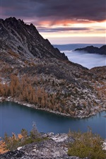 미리보기 iPhone 배경 화면 겨울에 Prusik의 피크, 산, 호수, 나무, 자연, 석양