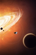 Preview iPhone wallpaper Space, spaceship, planet, nebula, galaxies