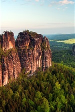 Preview iPhone wallpaper Spectacular scenery, rock mountains, cliffs, verdant trees