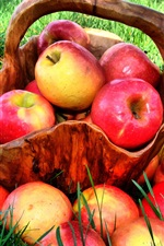 Preview iPhone wallpaper Summer grass, red apple harvest, delicious fruit