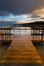 Preview iPhone wallpaper Sweden Varmland lake, wooden bridge, night sky clouds