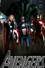 Preview iPhone wallpaper The Avengers, five super heroes