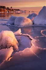 Preview iPhone wallpaper The winter icing shores, water ice, warm sunset