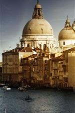Veneza Itália, Canal, barcos, edifícios, água, sol