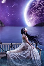 Preview iPhone wallpaper Aesthetic creative landscape, lake water benches girl, sky planet
