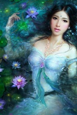 Preview iPhone wallpaper Beautiful Asian girl in lotus pool