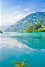 Preview iPhone wallpaper Beautiful nature landscape, lake, mountains, trees, village, blue sky, white clouds