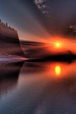 Belas paisagens, pôr do sol, lago, Rock Hill, reflexão