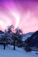 Preview iPhone wallpaper Beauty of the northern lights, purple sky, cold winter, house, snow