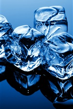Preview iPhone wallpaper Blue theme, cold ice cubes