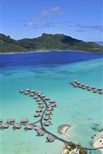 Bora Bora Island, sea, beach, houses