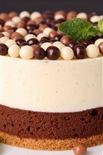 Preview iPhone wallpaper Cake, chocolate, dessert, candy, mint leaves