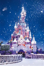 Preview iPhone wallpaper Christmas and New Year, the Disney castle, snow flying