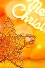 Preview iPhone wallpaper Christmas decoration, five-pointed star, golden style