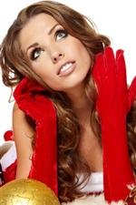 Natal menina, bolas de Natal, saco do presente