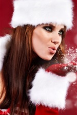 Preview iPhone wallpaper Christmas girl blowing snowflakes