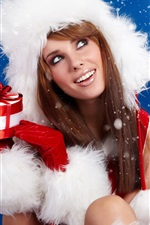 Preview iPhone wallpaper Christmas girl holding a Christmas gift