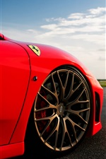 iPhone fondos de pantalla Ferrari F-430, color rojo, cielo, nubes, sol, resplandor