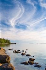 Finland landscape, the island, trees, beach, sea, blue sky, clouds
