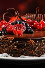 Preview iPhone wallpaper Fragrant taste of chocolate fruit cake dessert