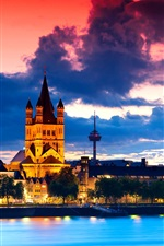 Preview iPhone wallpaper Gothic cathedral in Cologne, Germany, city night, river, clouds