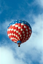 Preview iPhone wallpaper Hot air balloon in the sky, white clouds