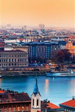 Preview iPhone wallpaper Hungary Budapest city, the river, buildings, houses, sunset