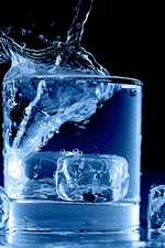 Preview iPhone wallpaper Icy blue, glass cup, water, ice cubes, splash