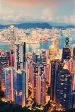 Preview iPhone wallpaper International metropolis, a beautiful night view of Hong Kong