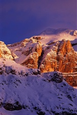 Preview iPhone wallpaper Italy's red rocks snow-capped mountains scenery close-up