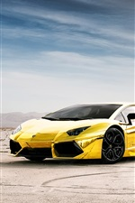 Preview iPhone wallpaper Lamborghini Aventador LP700-4 gold color
