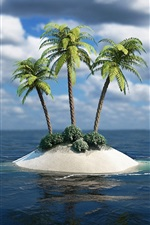 Preview iPhone wallpaper Lonely island, the island's three palm trees