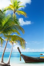 Preview iPhone wallpaper Palm trees, boat, tropical sea, beach sand, clouds