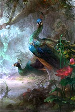 Preview iPhone wallpaper Peacock art painting
