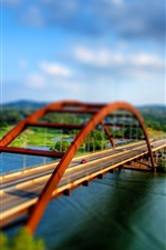 Preview iPhone wallpaper Shift photography, a two-way road bridge, river